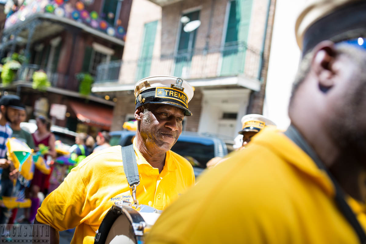 Benny Jones, leader, of the Treme Brass Band start out their Kid