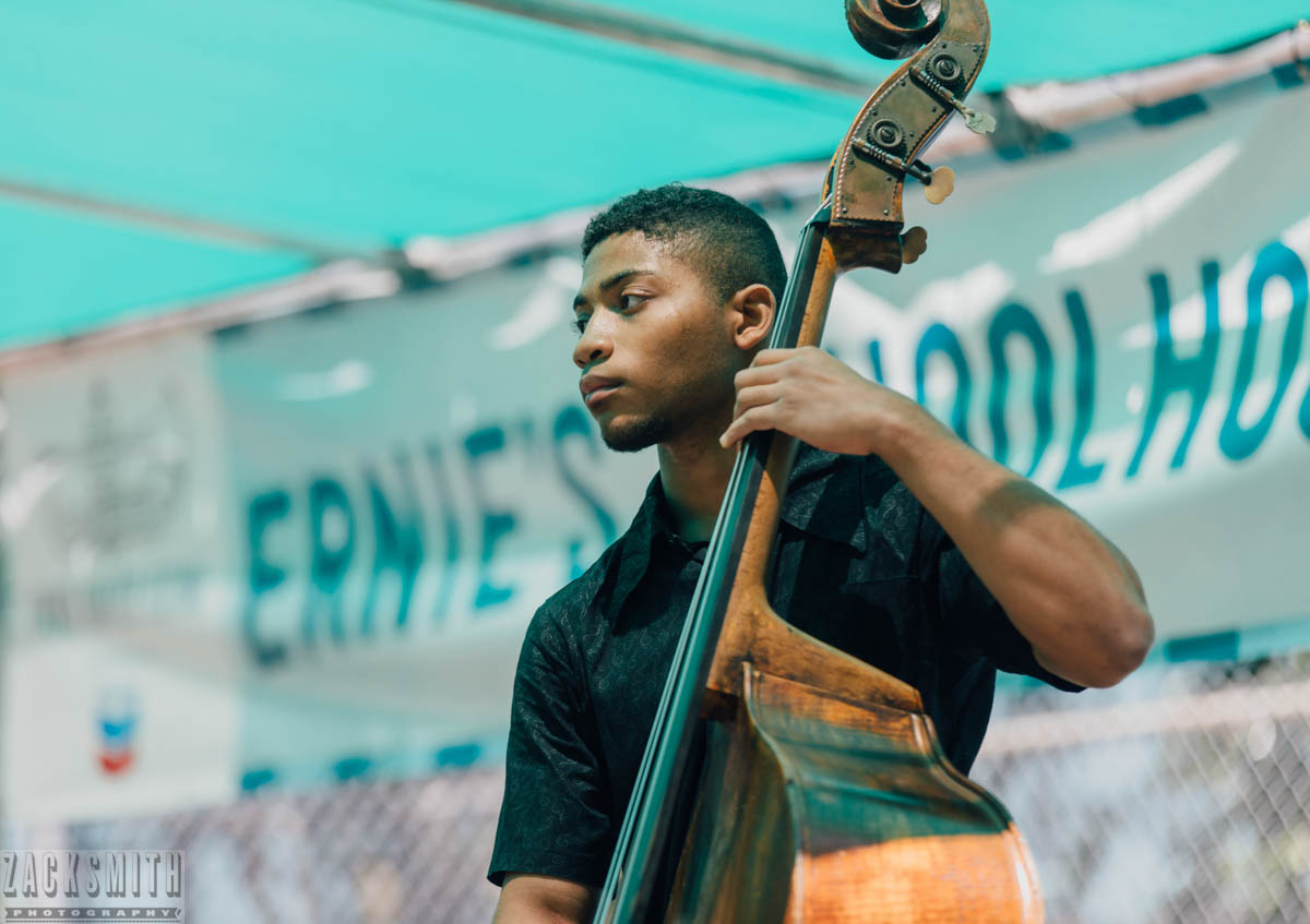NOCCA Jazz Ensemble bassist at French Quarter Fest 2018. ©Zack Smith Photography