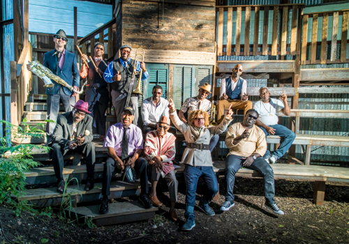 Preservation Hall Jazz Band pose in the setting sun of the last show at the Music Box this season...till next season!