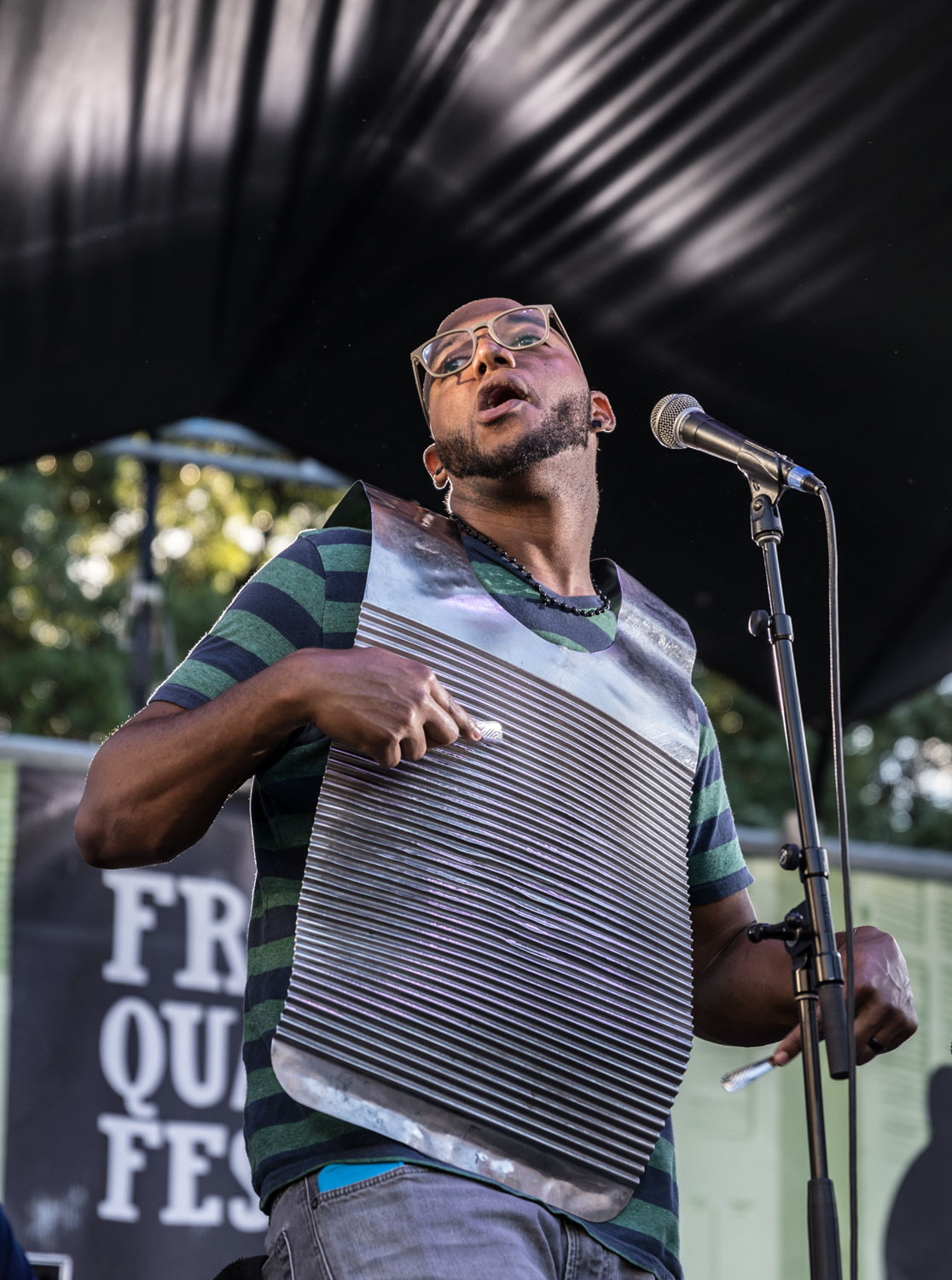 Washboard player Jayme Romain for Corey Ledet