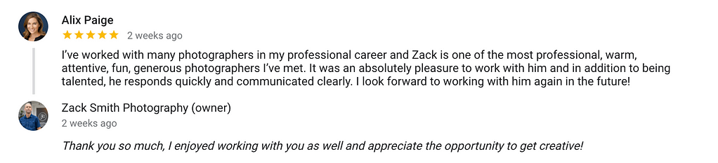 Zack Smith Photographer actor and model photography services, five star review.