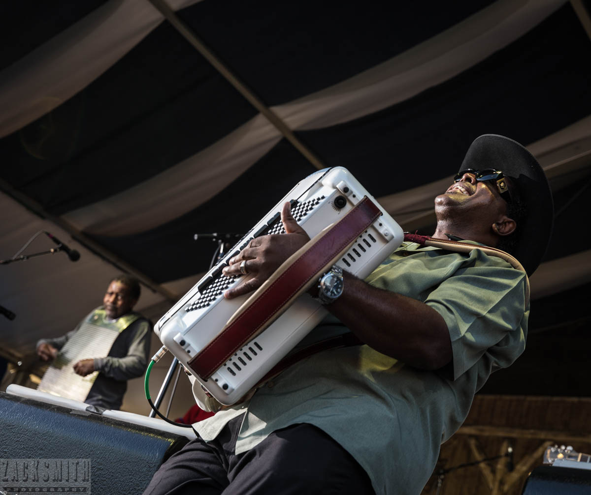 Nathan Williams of Nathan and the Zydeco Cha Chas GET DOWN all the way down at the Fais Do Do stage!