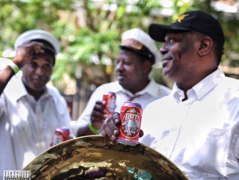 The Tornado Brass Band cool off with a few cold Abita Jockamo IPA